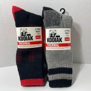 Kodiak Thermal Wool Socks 4 Pairs Men's Red Grey